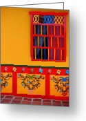 Guatape Greeting Cards - Ventana Amarilla Greeting Card by Skip Hunt