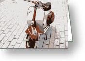 Brown Digital Art Greeting Cards - Vespa Scooter Pop Art Greeting Card by Michael Tompsett