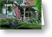 Cape May Nj Photo Greeting Cards - Victorian house and garden. Greeting Card by John Greim