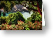 Greece Digital Art Greeting Cards - View From The Terrace - Paleokastritsa  Greeting Card by Lois Bryan