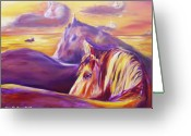 Contemporary Horse Digital Art Greeting Cards - View Greeting Card by Gina De Gorna