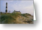 Refuges Greeting Cards - View Of Cape Lookout Lighthouse Greeting Card by Stephen Alvarez