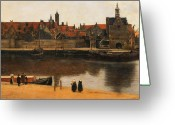Vermeer Greeting Cards - View of Delft Greeting Card by Jan Vermeer