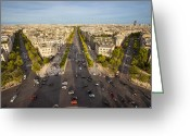 Champs Elysees Greeting Cards - View over Champs Elysees Greeting Card by Brian Jannsen