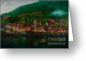 Lake Como Greeting Cards - Village View on Lake Como  Greeting Card by Charlotte Blanchard