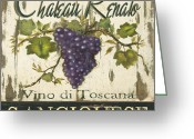 Grapes Greeting Cards - Vineyard Red Wine Sign Greeting Card by Grace Pullen