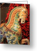 Amusement Ride Greeting Cards - Vintage Carousel Horse Greeting Card by Suzanne Gaff