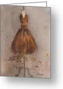 Caramel Greeting Cards - Vintage Chocolate and Caramel Dress  Greeting Card by Lauren Maurer