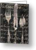 Eating Painting Greeting Cards - Vintage Dining Utensils in Black  Greeting Card by Grace Pullen