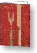 Eating Painting Greeting Cards - Vintage Kitchen Utensils in Red Greeting Card by Grace Pullen