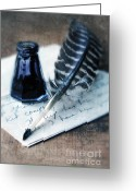 Historical Document Greeting Cards - Vintage Letter and Quill Pen Greeting Card by Jill Battaglia