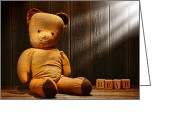 Alphabet Greeting Cards - Vintage Teddy Bear Greeting Card by Olivier Le Queinec