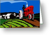 Farm Digital Art Greeting Cards - Vintage Tractor Retro Greeting Card by Aloysius Patrimonio