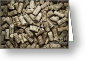 Monochrome Greeting Cards - Vintage Wine Corks Greeting Card by Frank Tschakert
