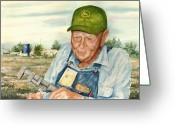 John Deere Greeting Cards - Virgil Greeting Card by Sam Sidders