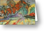 Beaches Drawings Greeting Cards - Volcan Rojo 98 Greeting Card by Bradley Bishko