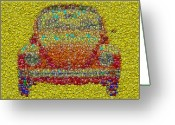 Nice Day Greeting Cards - VW Bug Smiley face Mosaic Greeting Card by Paul Van Scott