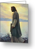 Grey Blue Greeting Cards - Walk with Me  Greeting Card by Greg Olsen