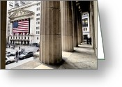 Manhattan Street Scenes Greeting Cards - Wall Street And The New York Stock Greeting Card by Justin Guariglia
