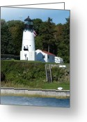 Light Pyrography Greeting Cards - Warwick Neck Lighthouse Greeting Card by Thomas Theroux