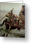 Rowboat Greeting Cards - Washington Crossing the Delaware River Greeting Card by Emanuel Gottlieb Leutze
