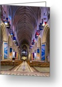 Great Hall Greeting Cards - Washington National Cathedral - Washington DC Greeting Card by Brendan Reals
