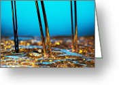 Splashing Greeting Cards - Water And Oil Greeting Card by Setsiri Silapasuwanchai