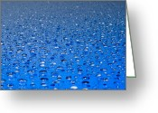 Surface Greeting Cards - Water drops on a shiny surface Greeting Card by Ulrich Schade