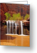 Grand Gulch Greeting Cards - Waterfall in Coyote Gulch Utah Greeting Card by Utah Images