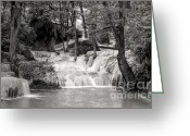 Green And White Greeting Cards - Waterfall Greeting Card by Setsiri Silapasuwanchai