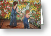 Overalls Greeting Cards - Watering Grandmas Flowers Greeting Card by Maggie  Welker