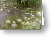 Nature Study Painting Greeting Cards - Waterlilies at Midday Greeting Card by Claude Monet