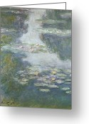 Water Bloom Greeting Cards - Waterlilies Greeting Card by Claude Monet
