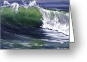 Green Room Greeting Cards - Wave 8 Greeting Card by Lisa Reinhardt