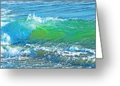 B.c Greeting Cards - Waves Greeting Card by David  Naman