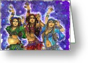 Belly Dance Greeting Cards - We Three Greeting Card by Rebecca Shupp