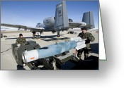 Smart Greeting Cards - Weapons Crews Load A Gbu-12 Laser Greeting Card by HIGH-G Productions