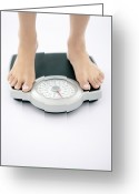Body Image Greeting Cards - Weight Measurement Greeting Card by Gavin Kingcome