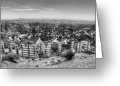 Los Angeles Greeting Cards - Welcome to Hollywood - BW Greeting Card by Natasha Bishop