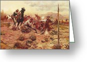 Open Range Greeting Cards - When Horseflesh Comes High Greeting Card by Pg Reproductions