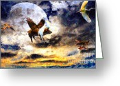 Goose Digital Art Greeting Cards - When Pigs Fly Greeting Card by Wingsdomain Art and Photography