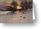 Landscape Cards Greeting Cards - When the West with Evening Glows Greeting Card by Joseph Farquharson