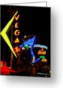 Fremont Street Greeting Cards - Where the Neon Glows Greeting Card by Zee Helmick