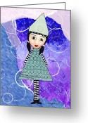 Gift For A Mixed Media Greeting Cards - Whimsical Green Girl Mixed Media Collage Greeting Card by Karen Pappert