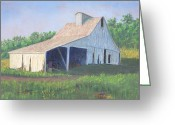 Mississippi River Scene Greeting Cards - White Barn on Bluff Road Greeting Card by Garry McMichael