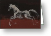 Wild Horse Painting Greeting Cards - White Horse Greeting Card by Sophy White