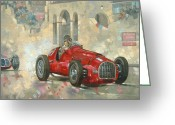 Wheels Greeting Cards - Whiteheads Ferrari passing the pavillion - Jersey Greeting Card by Peter Miller