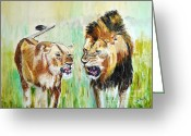 Lions Painting Greeting Cards - wild Kingdom Greeting Card by Judy Kay