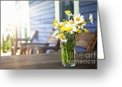 Porch Greeting Cards - Wildflowers bouquet at cottage Greeting Card by Elena Elisseeva