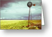 Threatening Greeting Cards - Windmill Against Autumn Sky Greeting Card by Gordon Wood